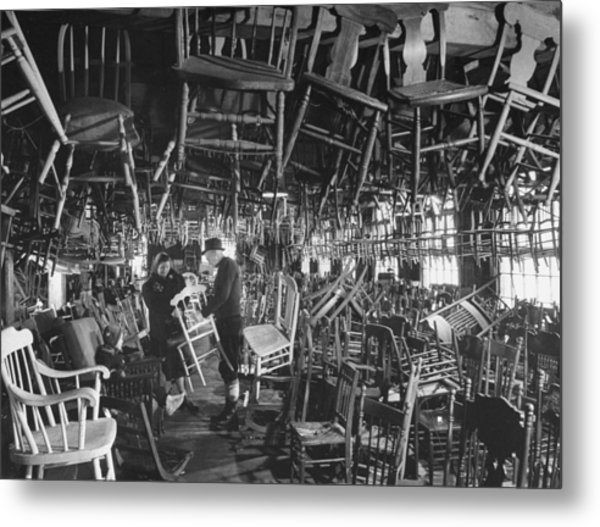 Large Room Full Of Chairs Being Offered Metal Print