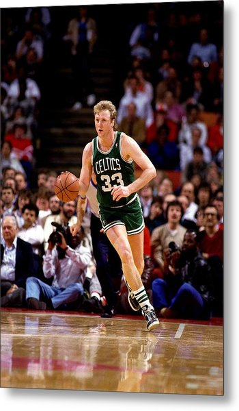 Larry Bird Drives Metal Print