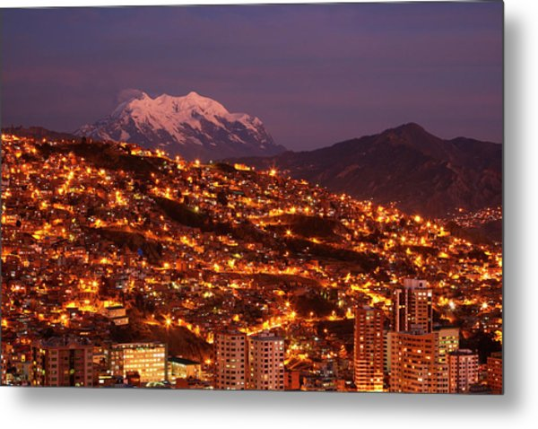 Last Light On Illimani (6438m/21,122ft Metal Print by David Wall