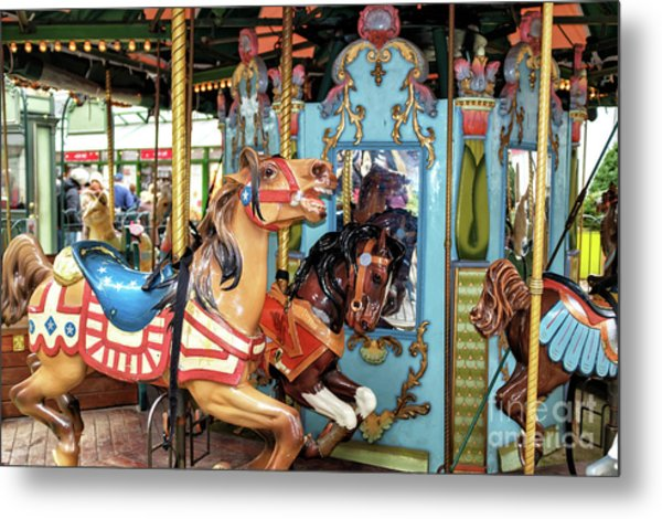 Le Carrousel Colors At Bryant Park In New York City Metal Print by John Rizzuto