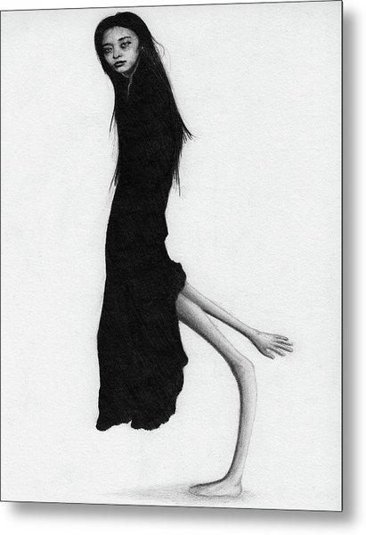Leaning Woman Ghost - Artwork Metal Print
