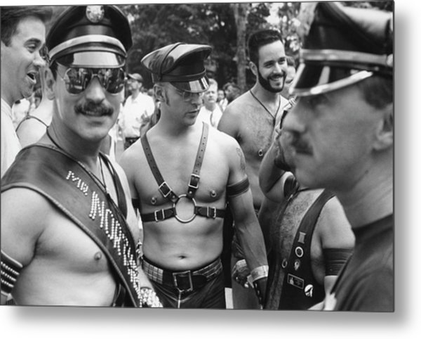 Leather On Gay Pride Day Metal Print by Fred W. McDarrah