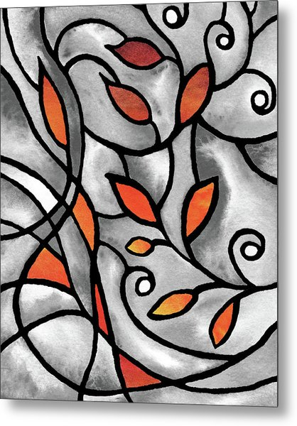 Leaves And Curves Art Nouveau Style IIi Metal Print