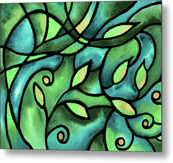 Leaves And Curves Art Nouveau Style V Metal Print