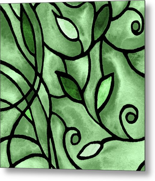 Leaves And Curves Art Nouveau Style X Metal Print