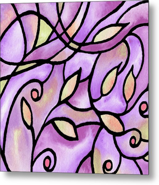 Leaves And Curves Art Nouveau Style Xi Metal Print
