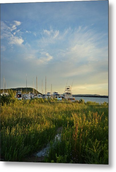 Leland Harbor At Sunset Metal Print