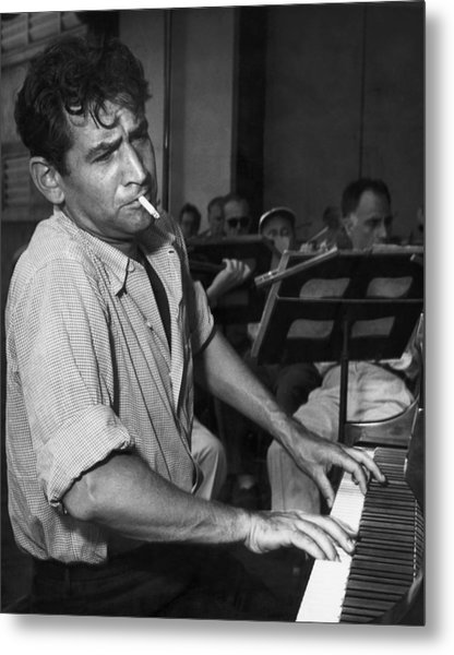 Leonard Bernstein Smoking At Piano Metal Print by Bettmann