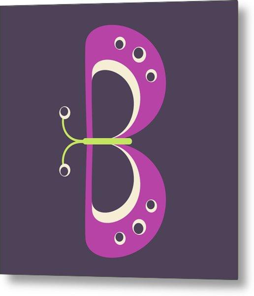 Letter B - Animal Alphabet - Butterfly Monogram Metal Print