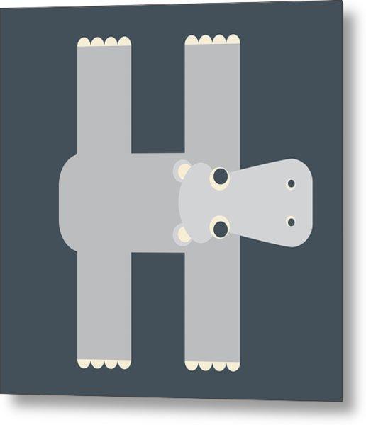Animal Alphabet - Letter H - Hippo Monogram Metal Print