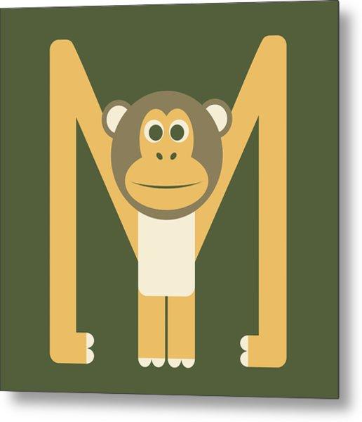 Letter M - Animal Alphabet - Monkey Monogram Metal Print