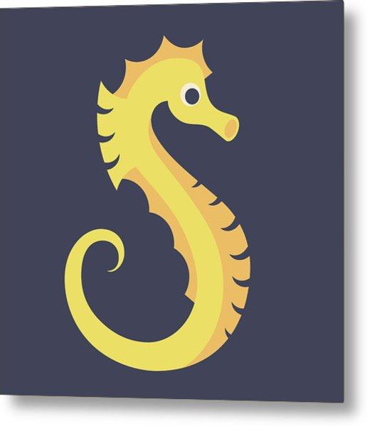 Letter S - Animal Alphabet - Seahorse Monogram Metal Print