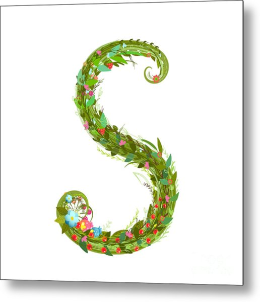 Letter S Floral Latin Decorative Metal Print