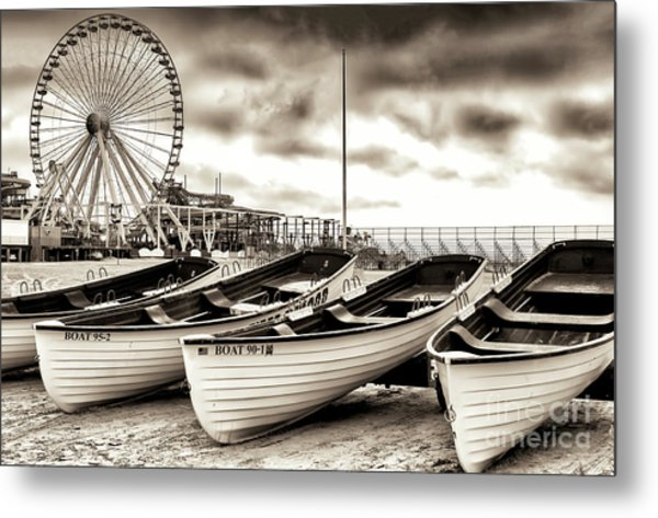 Lifeguard Boats At Wildwood New Jersey Metal Print