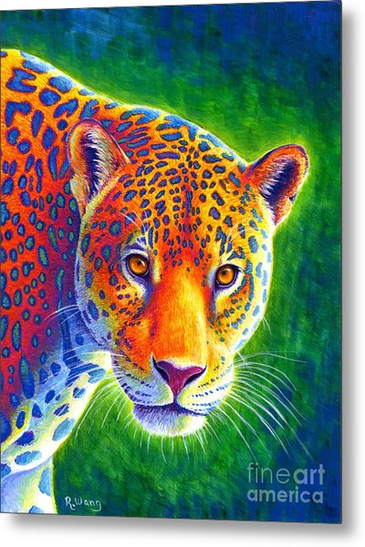 Light In The Rainforest - Jaguar Metal Print