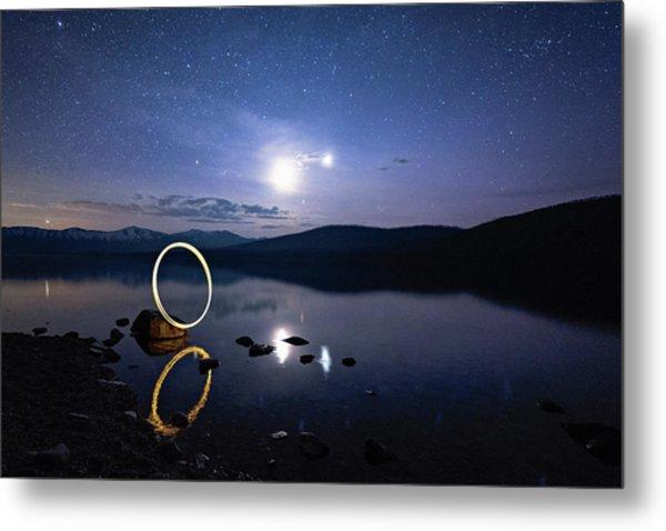 Light Painting Lake Mcdonald Metal Print