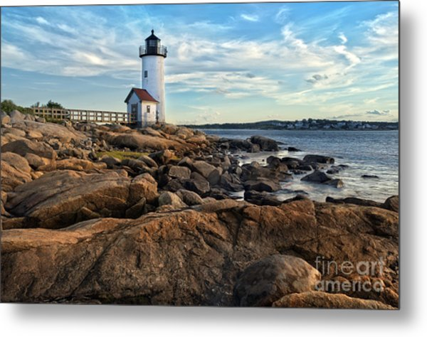 Lighthouse At Sunset Off Annisquam Metal Print