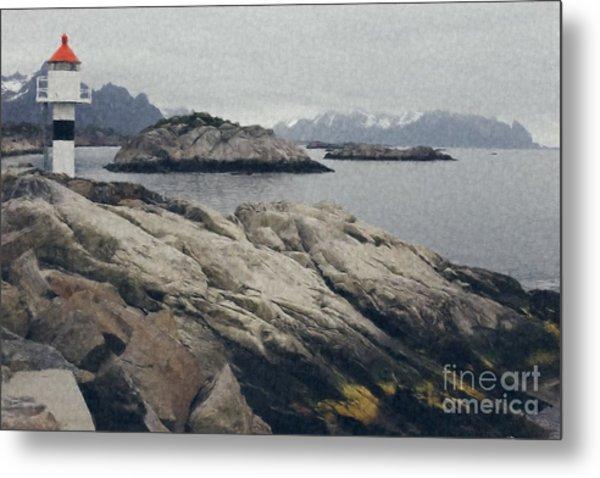 Lighthouse On Rocks Near The Atlantic Coast, Digital Art Oil Pai Metal Print