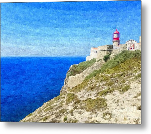 Lighthouse On Top Of A Cliff Overlooking The Blue Ocean On A Sunny Day, Painted In Oil On Canvas. Metal Print