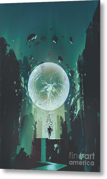 Lightning Ball And Geometry In The Form Metal Print