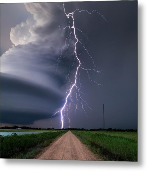 Lightning Bolt From A Super-cell Metal Print by John Finney Photography