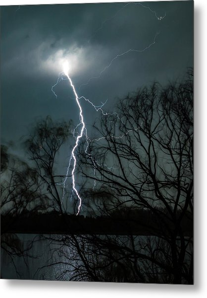 Lightning Bolt Over Little Sugarloaf Metal Print