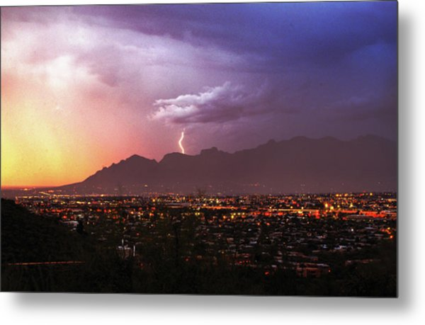 Metal Print featuring the photograph Lightning Bolt Over The Santa Catalina Mountains And Tucson, Arizona by Chance Kafka