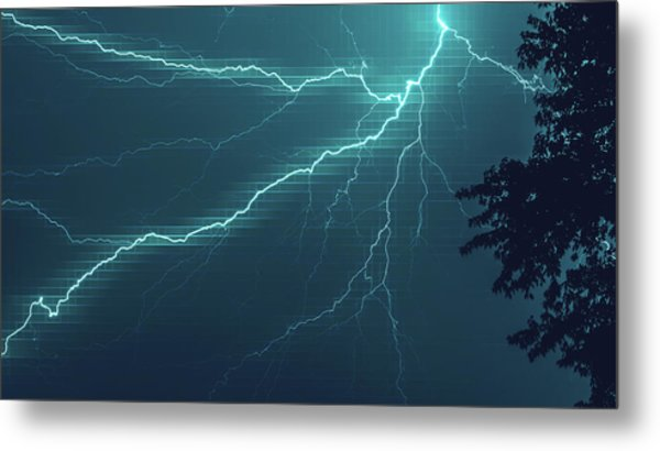 Lightning Grid Metal Print