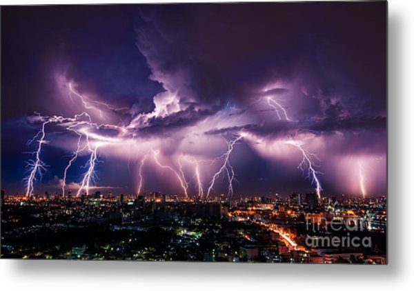 Lightning Storm Over City In Purple Metal Print