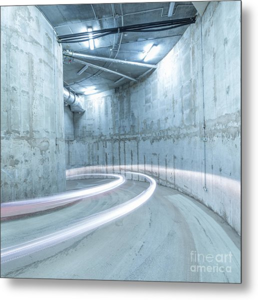 Lights Of The Moving Car In The Metal Print