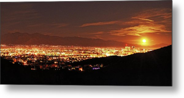 Metal Print featuring the photograph Lights Of Tucson And Moonrise by Chance Kafka