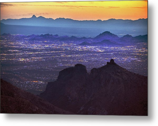 Metal Print featuring the photograph Lights Of Tucson At Twilight  by Chance Kafka