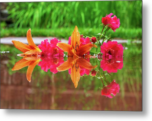 Lilies And Roses Reflection Metal Print