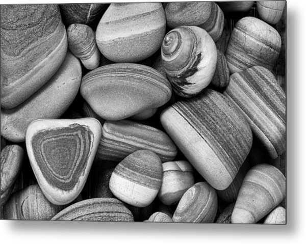 Lined Rocks And Shell Metal Print