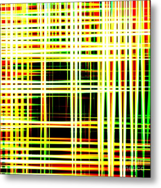 Lines And Squares In Color Waves - Plb418 Metal Print