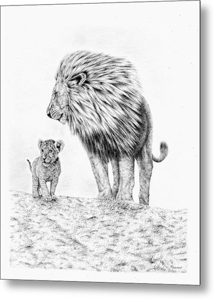 Lion And Cub Metal Print