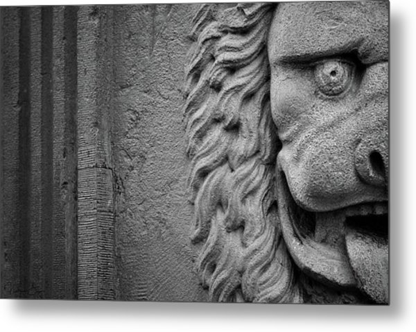 Lion Statue Portrait Metal Print