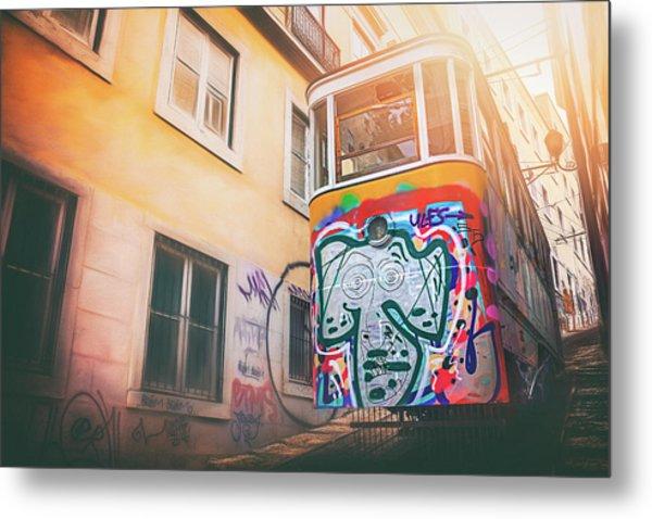 Lisbon's Lively Transport Metal Print