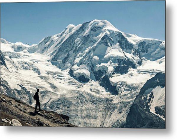 Liskamm Lyskamm 4527m Mountain Peak In Metal Print by Alpamayophoto