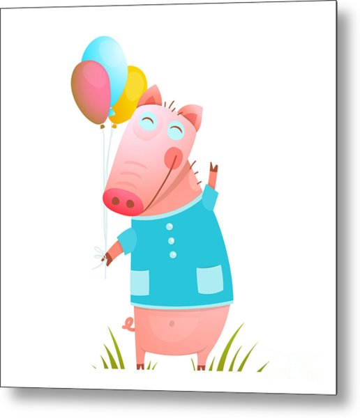 Little Adorable Baby Pig With Balloons Metal Print