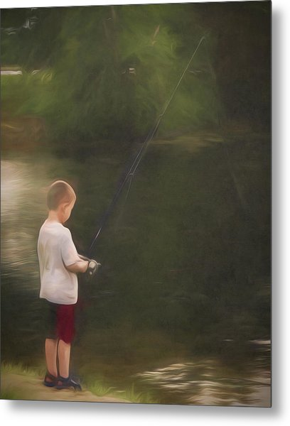 Little Boy Fishing Metal Print