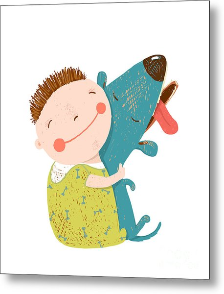 Little Boy With A Dog Hugging. Child Metal Print