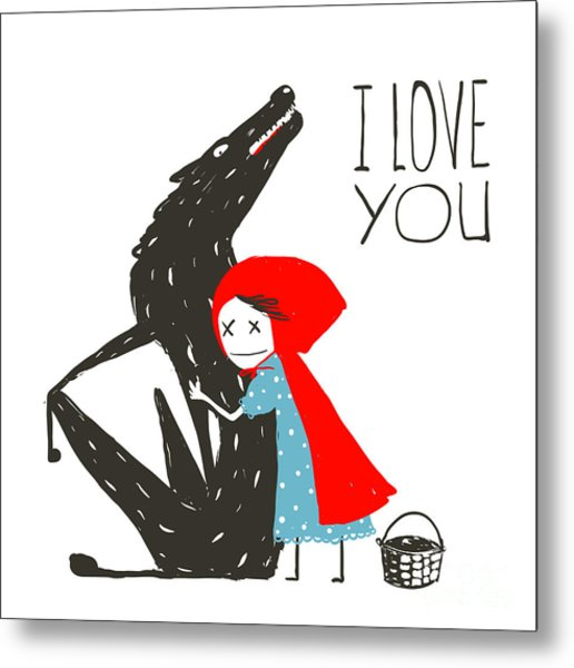 Little Red Riding Hood Loves Black Metal Print