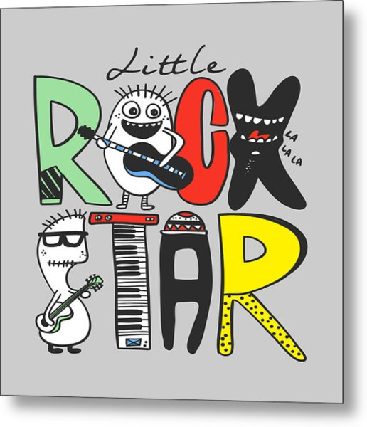 Little Rock Star - Baby Room Nursery Art Poster Print Metal Print