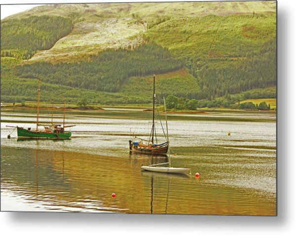 Loch Leven. The Boats At Ballachulish Metal Print