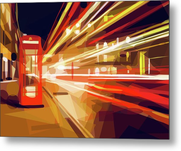 Metal Print featuring the digital art London Phone Box by ISAW Company