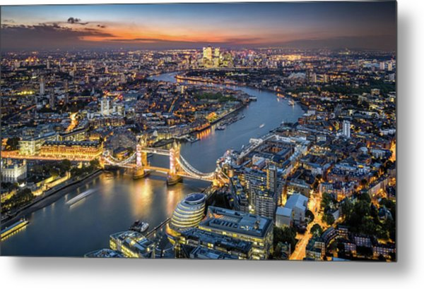 London Skyline With Tower Bridge At Metal Print by Tangman Photography