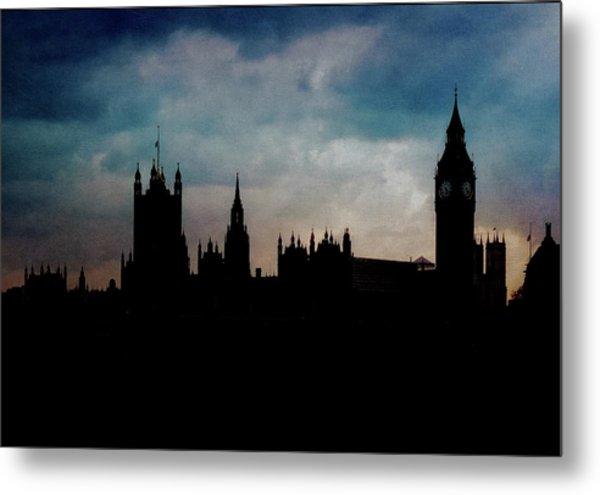 London Westminster Backlit Skyline Metal Print