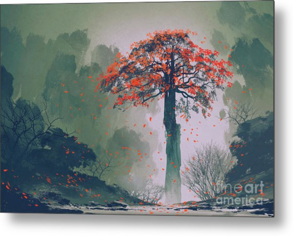Lonely Red Autumn Tree With Falling Metal Print by Tithi Luadthong