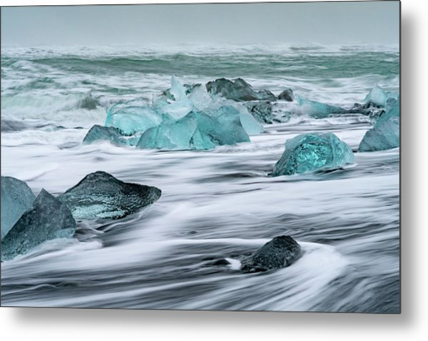 Long Exposure At The Jokulsarlon Ice Beach Metal Print